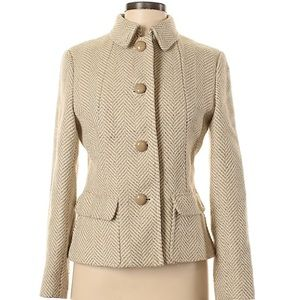 Talbots Chevron Houndstooth Wool Blend Peacoat